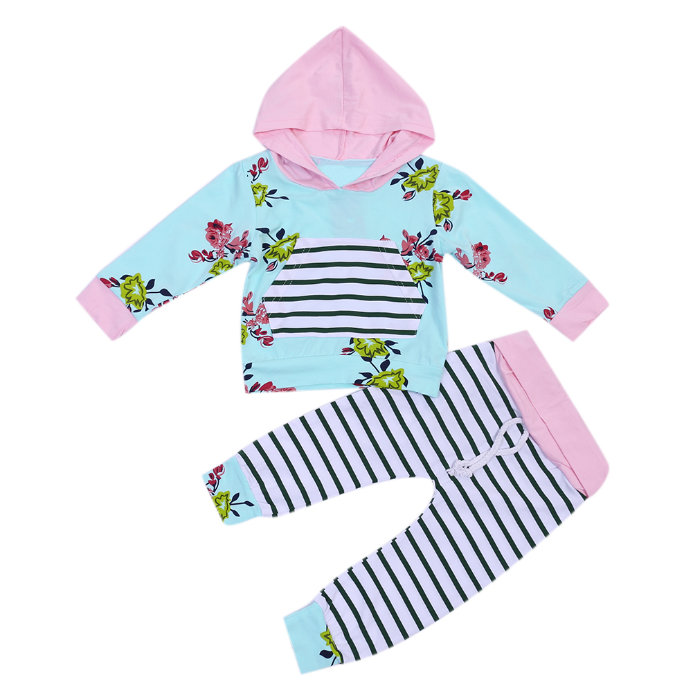 2pcs Unisex Baby Kids Long Sleeve Printed Hooded Tops+Striped Long Pants Winter Cotton Baby Boys Girls Clothes Set