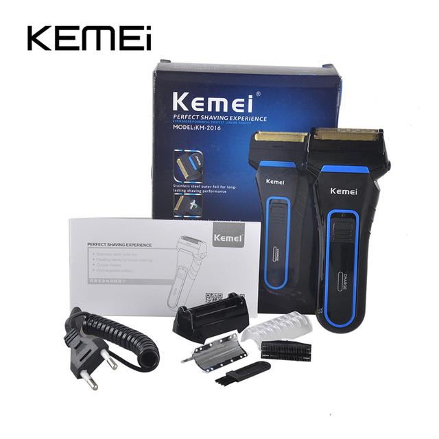 Kemei km-2016 inalámbrico máquina de afeitar eléctrica de los hombres razor groomer barba trimmer recargable oscilante doble uso en húmedo y seco