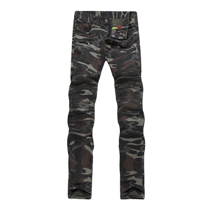 #3249 Camouflage jeans skinny men Biker Fashion Slim fit jeans male High street Jogger jean Korean Moto jeans for men Hip hop