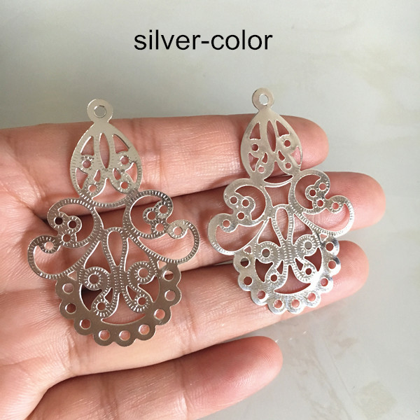 and Nickel Free 25x12mm Lead Cadmium 102050 Pcs Bright Silver Plated 5 Loop Bar Connector Charms