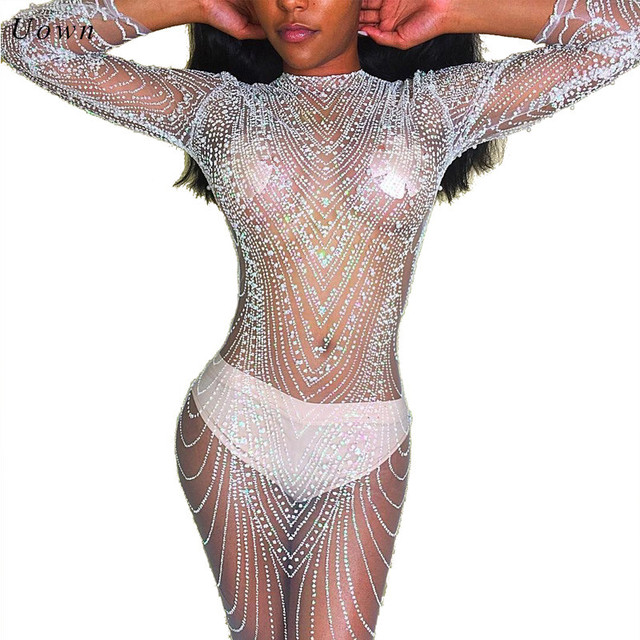 c5fb021295 US $13.69 45% OFF|Sexy Sheer Mesh Long Sleeve Sequin Dress Women O Neck  Sparkly See Through Bodycon Club Wear Night out Glitter Dresses for  Party-in ...