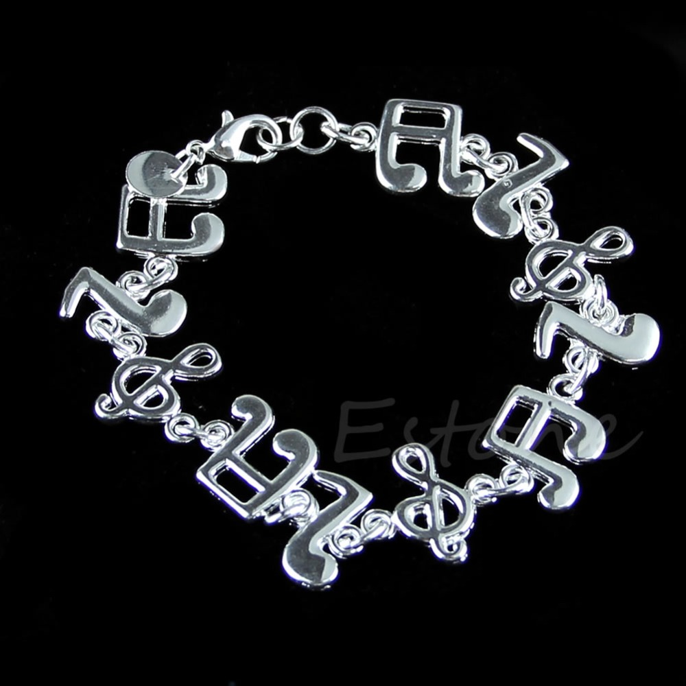 Fashion Women Silver Plated Charm Music note Chain font b Bracelet b font font b Bangle