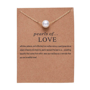 Hot Sale Imitation Pearl of Love Gold-Color Pendant Necklaces Clavicle Chains necklace Fashion Chain Necklace Women Jewelry