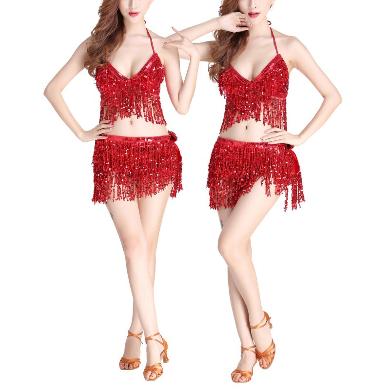 Women Professional Indian Dancer Egypt Costume Suit Belly Dance Costume  Bra Or Hip Scarf Sequined Performance Outfits