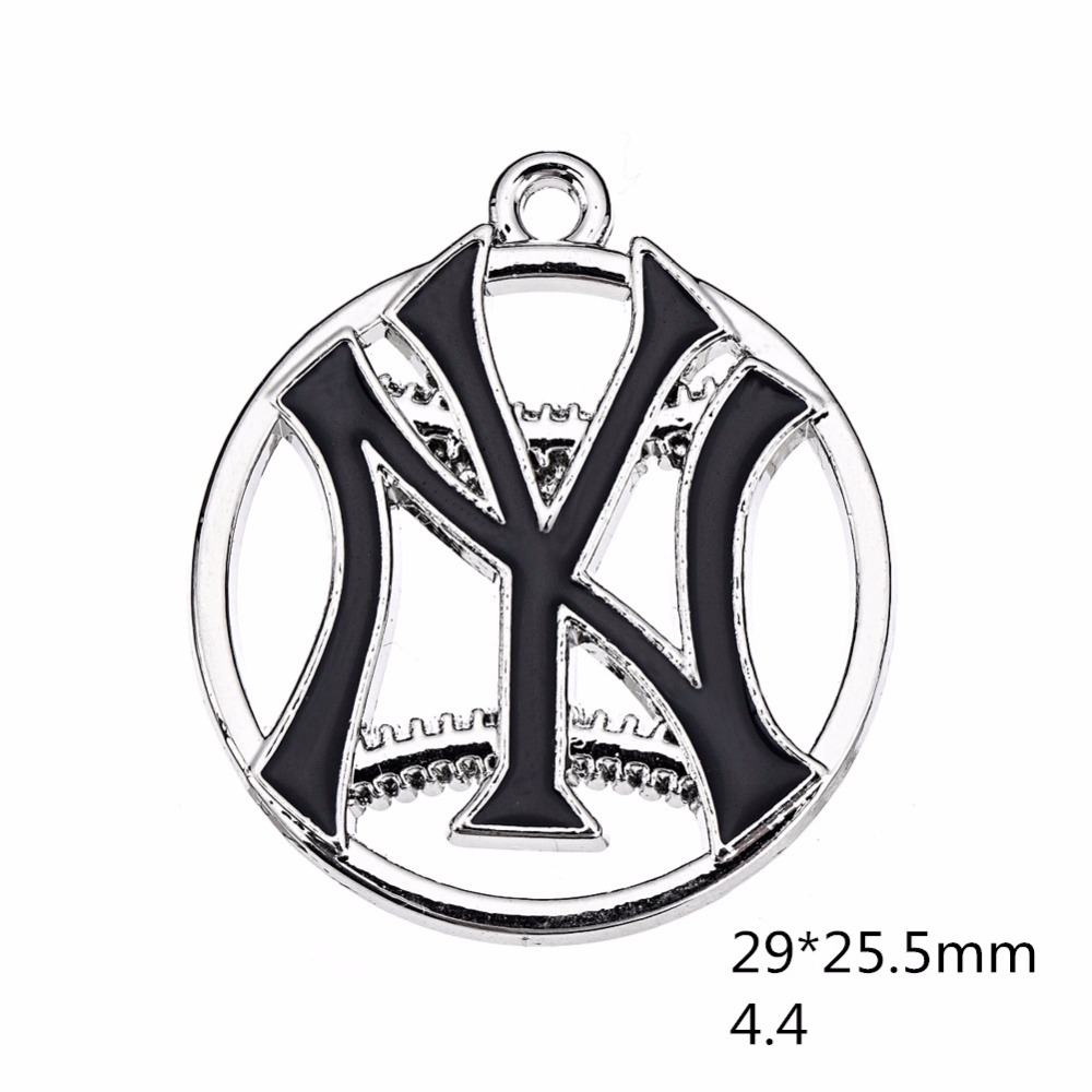Newest NY Yankee Pendant Charms Enamel Baseball Baseball Team Logo Charm For DIY Necklace Bracelet