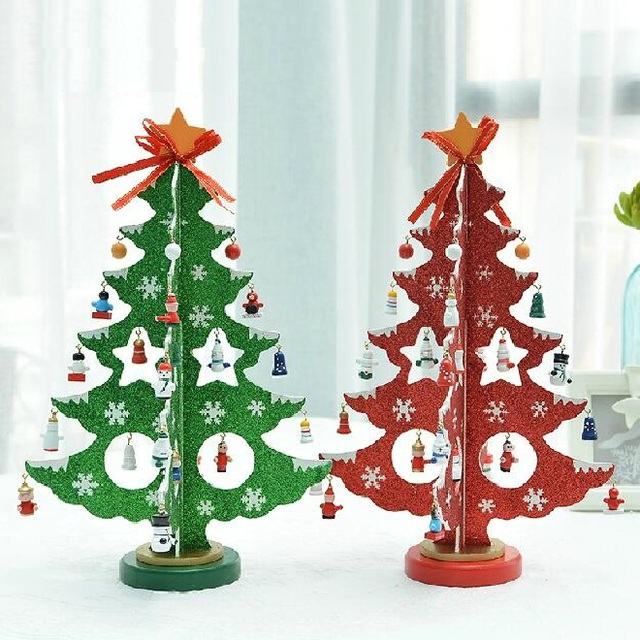 free shipping xmas gift table decoration wood christmas tree with ornament for xmas furnishing - Wooden Christmas Table Decorations