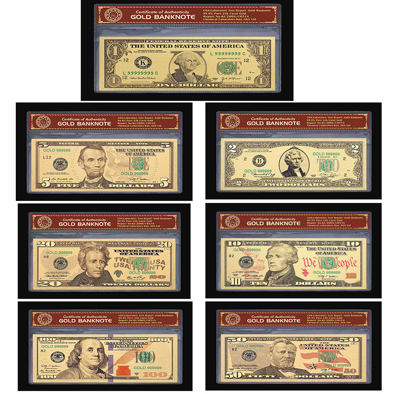 America <font><b>Dollar</b></font> Set Banknotes USD 1 2 <font><b>5</b></font> 10 20 50 100 <font><b>Dollar</b></font> <font><b>Bills</b></font> Banknote In 24K Gold Paper Money For Collection 7pcs/lot image