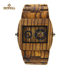 BEWELL Wood Watch Mens Watches Top Brand Luxury Business Wooden Quartz Watch Relogio Masculino Feminino Calendar Display Watch