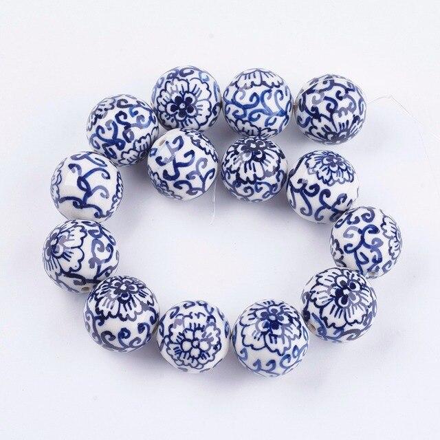 Pandahall 20 pièces 12/18mm fait à la main bleu et blanc porcelaine perles en céramique pour la fabrication de bijoux bricolage