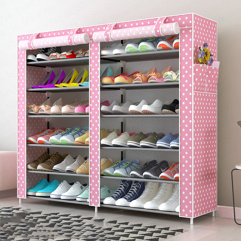 Oxford Cloth Shoe Rack Large Dustproof Storage Shoe Cabinet Double Row Large Capacity Multi-layer Assembly Fashion Shoe Rack