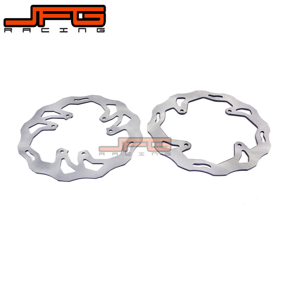 JFG MOTORCYCLE WAVY FRONR & REAR BRAKE DISCS BRAKE ROTORS For HONDA CRF125 CRF250 CRF450 CRF 125 CRF 250 CRF 450 for honda crf 250r 450r 2004 2006 crf 250x 450x 2004 2015 red motorcycle dirt bike off road cnc pivot brake clutch lever