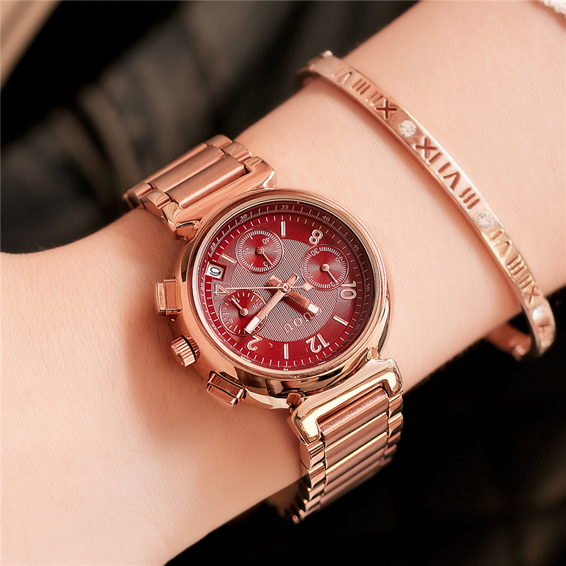 GUOU Ladies Quartz Watches Top Brand Luxury Rose Gold Women Bracelet Watch Calendar Women Dress Clock Black relogio feminino 2016 luxury brand ladies quartz fashion new geneva watches women dress wristwatches rose gold bracelet watch free shipping