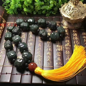 Natural jade and Tian Yu double Buddha head 18 beads hand String Bracelet beads.