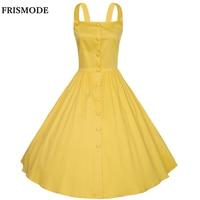 XS-4XL Vestido Plus Size Verão 2017 New Cotton Spaghetti Strap Amarelo Vermelho Azul Marinho Branco Mulheres Dresess 1950 s Do Vintage vestido