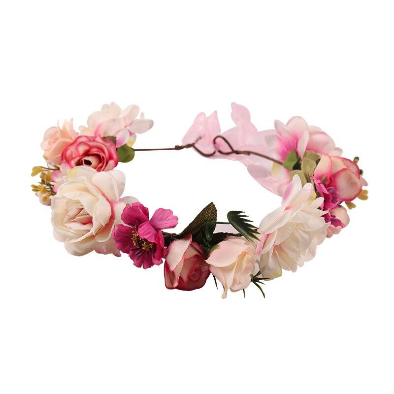 Rose Flower Crown Wreath Headband For Baby Girl And Mom Wedding Party Beach Garlands Hai ...