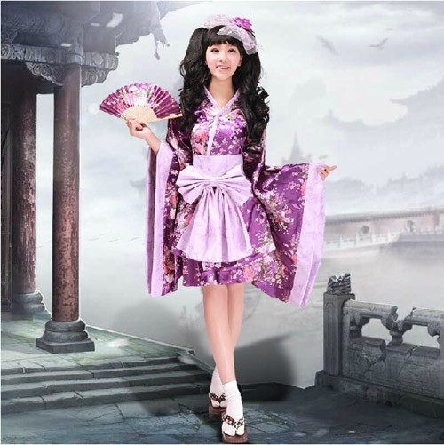 Fashion Lolita Maid Woman font b Cosplay b font Purple Flower Costume Japanese Kimono Sweet Dress