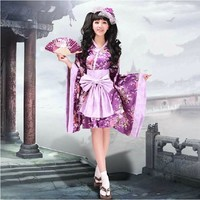 Fashion Lolita Maid Woman Cosplay Purple Flower Costume Japanese Kimono Sweet Dress S XL Free Shipping