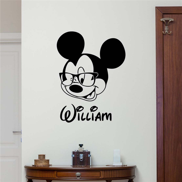 personalized name mickey mouse wall sticker custom name baby girl