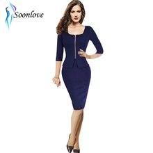 Casual Winter 2015 Celebrity Style Women Work Wear Elegant Bodycon Midi Length Blue Ladies Office Dress