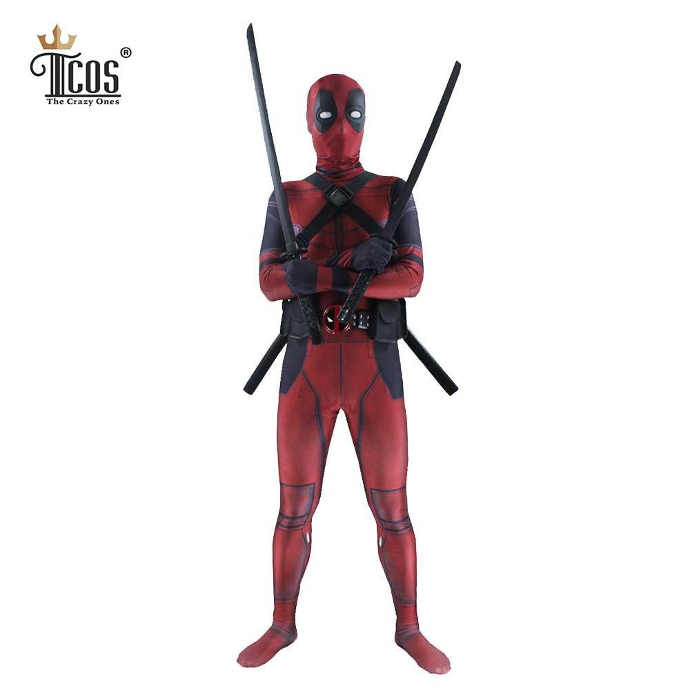 Deadpool Kostym 3D Spandex Lycra Avengers Full Body Second Skin Tight - Maskeradkläder och utklädnad - Foto 1