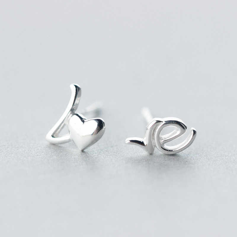 925 Sterling Silver LOVE Letter Stud Earrings For Women Elegant Lady Prevent Allergy Brincos pendientes mujer moda 2018 A102