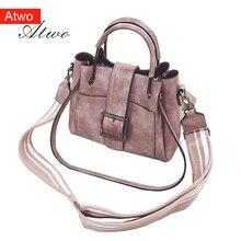 ATWO Women's Handbag flap pu Leather totes  Lady shoulder messenger bag fashion mini bag studded pu flap bag