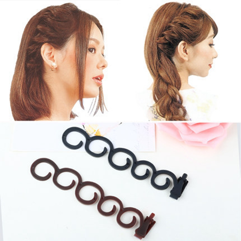 2pcs/set Flower Magic Hair Clip Braider Stylist Queue Twist Plait Hair Braid Hairstyle Styling pince cheveux fermagli capelli braid clip sponge hair braider twisting maker pink