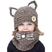 Dzieciak kot ucho zima wiatroszczelna kapelusze i szalik zestaw dla dzieci crochet czapki nakrycia głowy miękkie ciepłe hat czapka zimowa dla dzieci dzieci szalik kapelusz garnitury