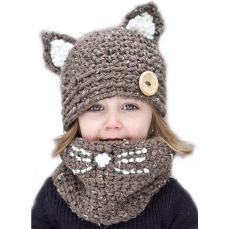 Kid cat ear winter windproof hats and scarf set for kids crochet headgear soft warm hat