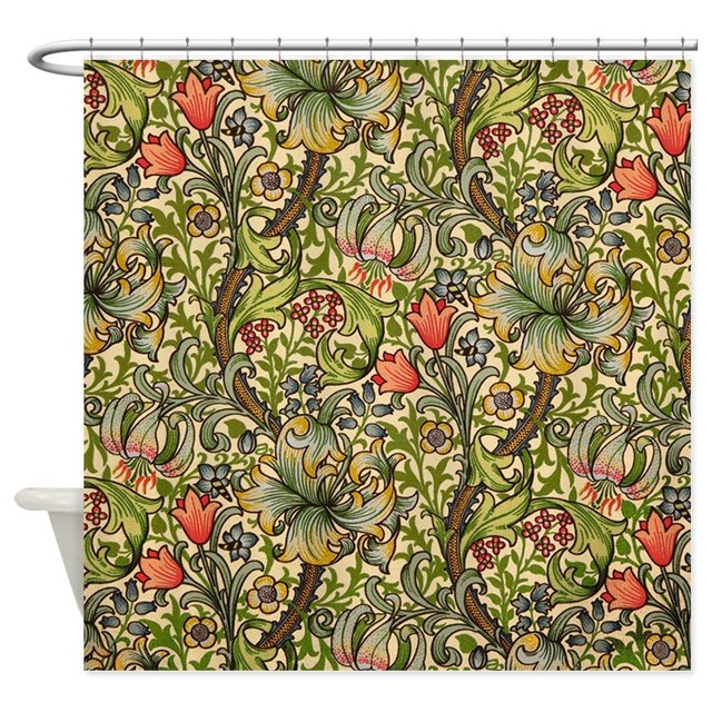 William Morris Golden Lily Decorative Fabric Shower Curtain Bath Products Bathroom Decor With Hooks Waterproof