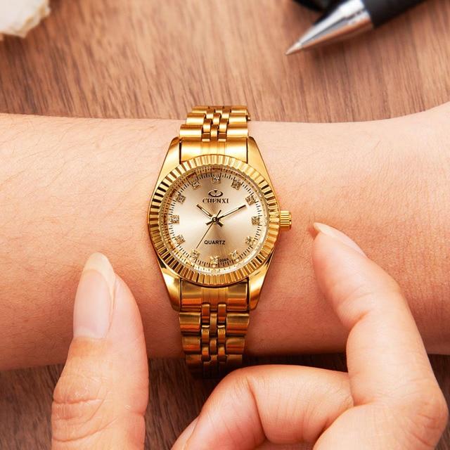 23557b41aac Relógio de Ouro Das Mulheres Relógios Senhoras Relógio CHENXI 3 CORES  Pulseira Da Moda Senhora reloj
