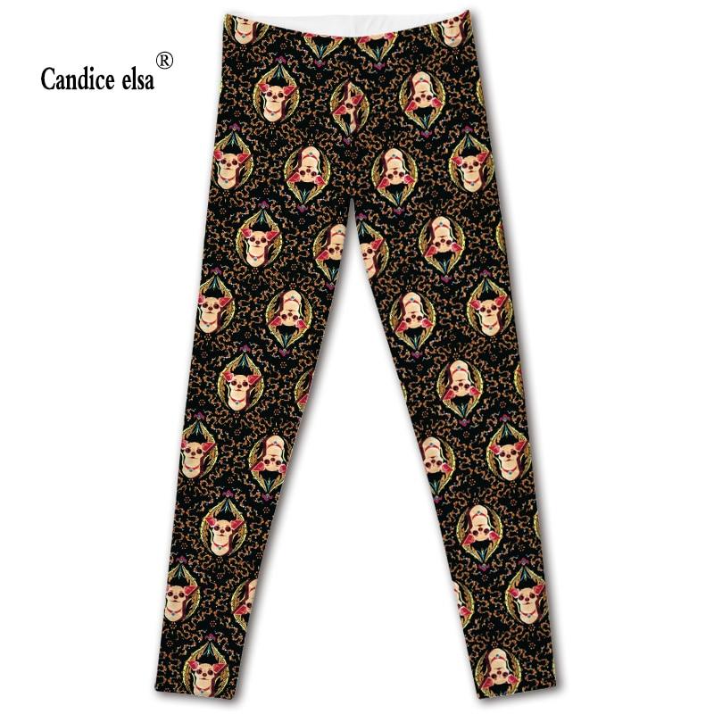 CANDICE ELSA leggings women elastic sexy fitness legging chihuahua dog printed workout female pants plus size drop shipping