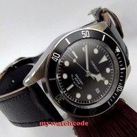 41 мм corgeut черный циферблат сапфир Стекло водонепроницаемый 20atm miyota 8215 автоматический Дайвинг мужские часы C7
