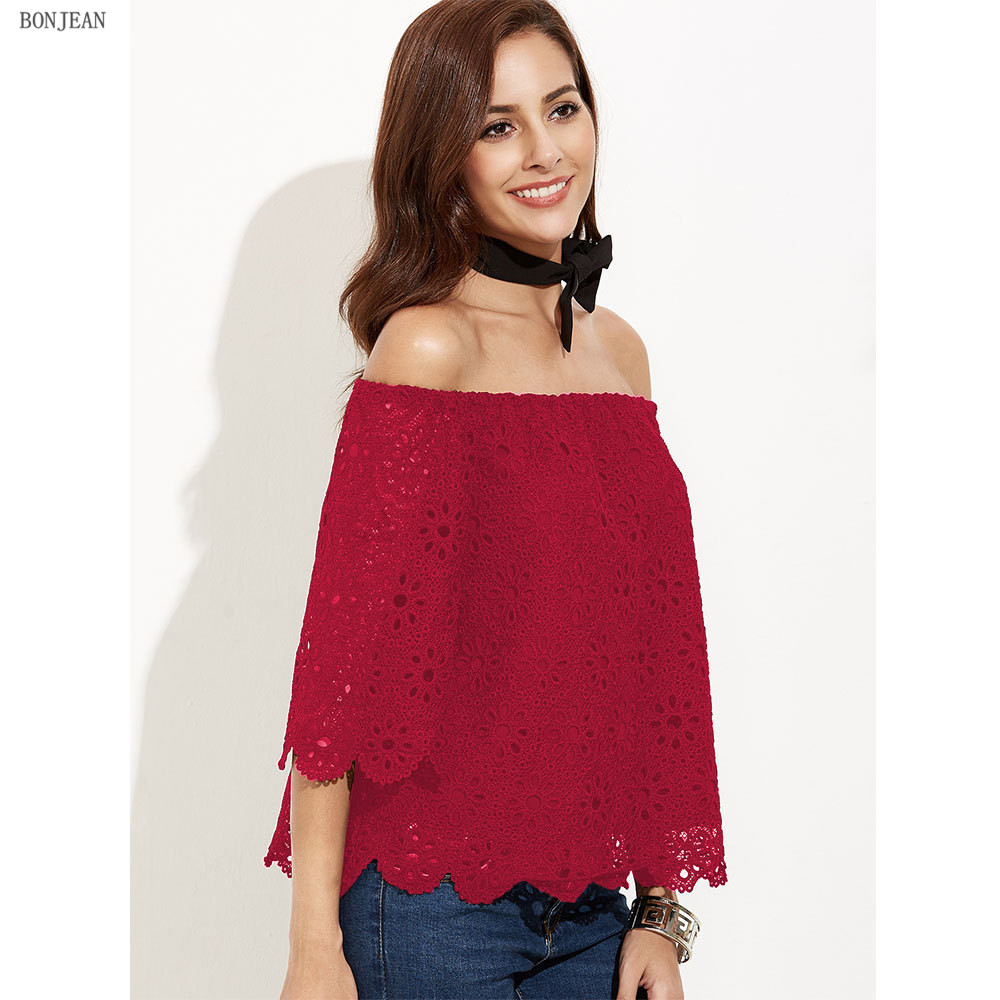 Tumblr Unicorn Tops Shipping Woman New Europe And America Fashion Autumn Lace, Word, Shoulder Shirt, Seven Sleeve Sexy Shirt