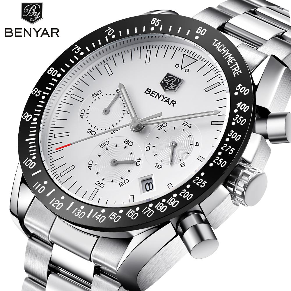 BENYAR 2018 New Fashion Chronograph Sport Watches Men high quality business quartz stainless steel mens watch Relogio MasculinoBENYAR 2018 New Fashion Chronograph Sport Watches Men high quality business quartz stainless steel mens watch Relogio Masculino