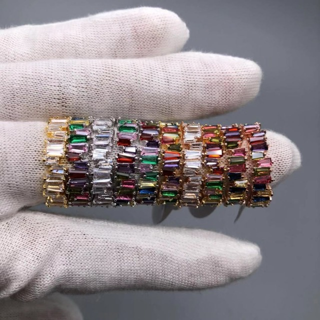 Thin Baguette T Ring Engagement Handmade Rainbow Trapezoid Stone Rings 1