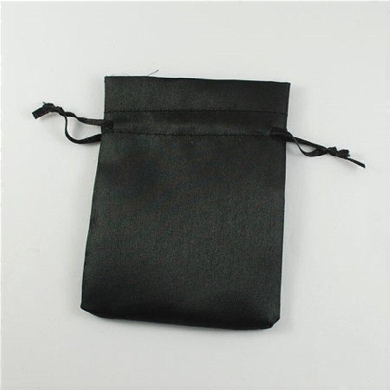 200pcs Black Cloth Pouches Rectangle Satin Jewelry Bag Wedding Gift Bags 9x7cm 10x8cm