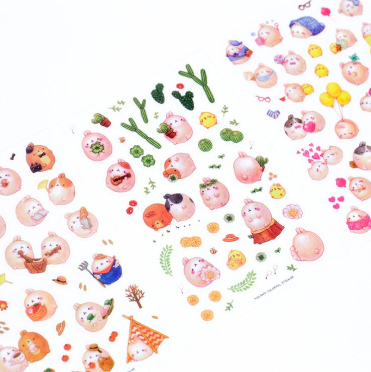 6 pcs set Lovely Round Roll Rabbit Stickers Diary Sticker Scrapbook Decoration PVC Stationery