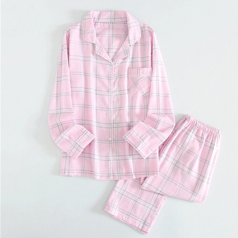 2019 New Ladies New Spring Simple And Elegance Grid Pattern 100% Gauze Cotton Women's Pajama Set Long-sleeve Household Set