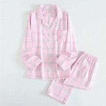 2019 nowe panie nowa wiosna proste i elegancji wzór siatki 100% gaza bawełniana kobiet piżamy zestaw z długim rękawem gospodarstwa domowego zestaw