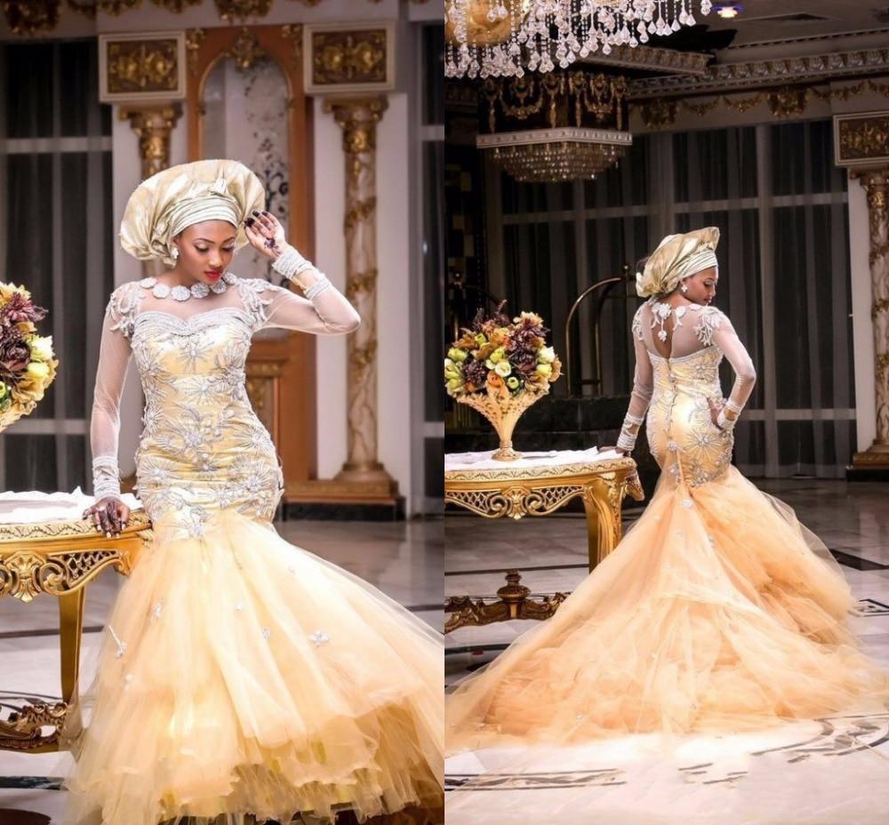 Buy Nigerian Wedding Dresses Long Sleeve
