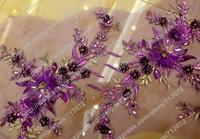 Purple 3D flowers handmade dress fabric beaded sequins 3D evening wedding dress fabrics fashion high qualyty fabric 1 yard