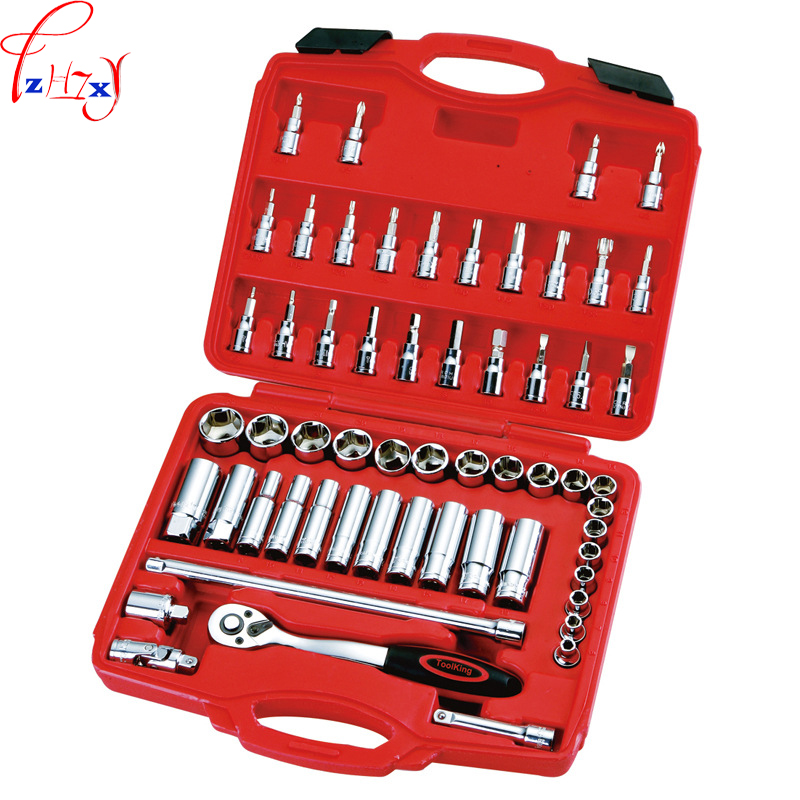 New 58pcs/set Combination of machine tools  3/8 10mm series of metric sleeve tools socket wrench combination tool 1pc xkai 14pcs 6 19mm ratchet spanner combination wrench a set of keys ratchet skate tool ratchet handle chrome vanadium