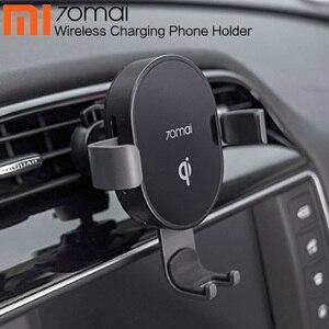 Cargador inalámbrico para teléfono Xiaomi 70mai Qi, cargador de coche con Sensor inteligente, soporte de carga rápida de 10W para iPhone X XR Xs