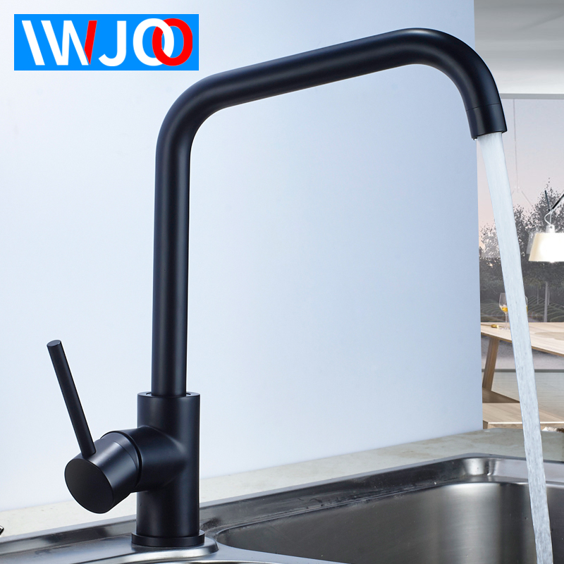 Kitchen Faucet Black 360 Degree Rotation Kitchen Sink Faucets Brass Cold and Hot Single Handle Hole Water Mixer Tap Deck Mounted