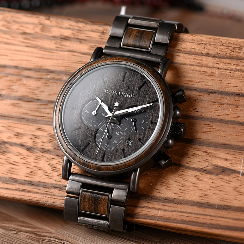 Wood Watches With Stainless Steel Quartz Timepiece 8