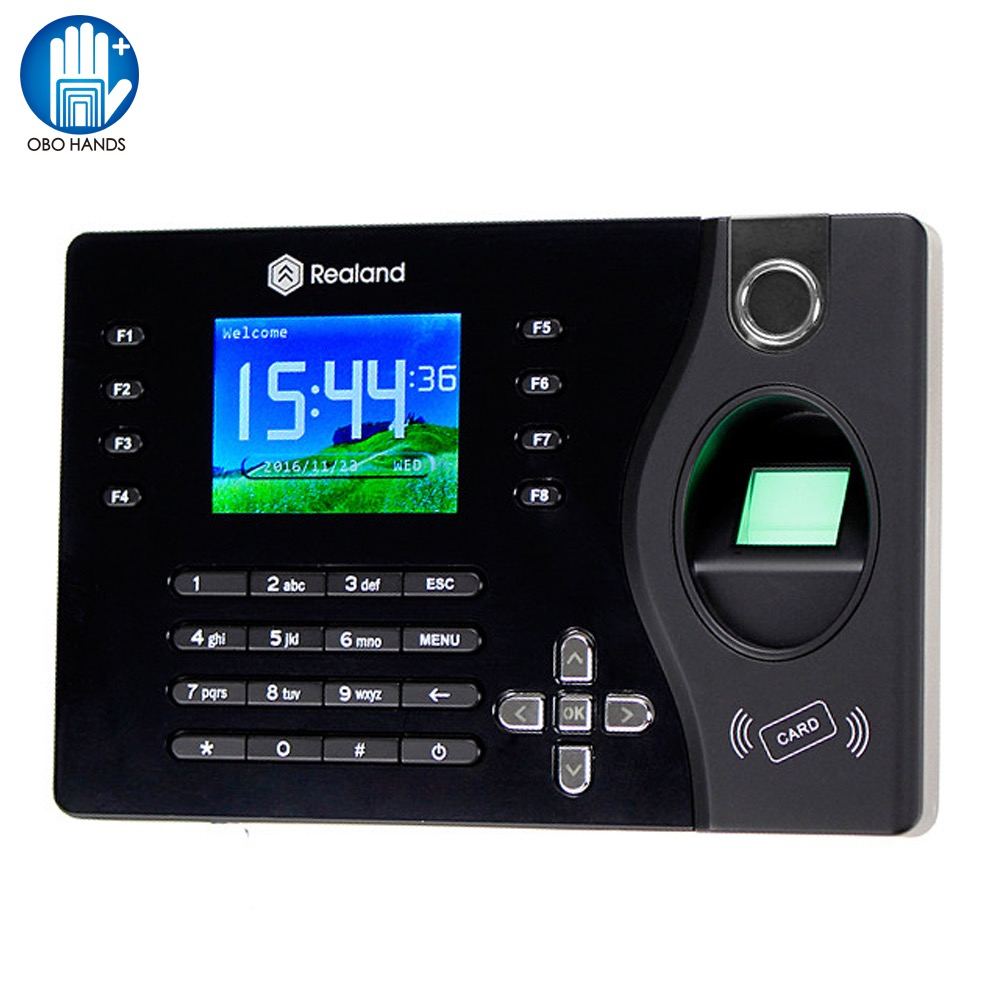 Realand Fingerprint Time Attendance System Machine TCP/IP Fingerprint Recorder USB Support SD Card RFID Card Identify Time Clock realand tcp ip rfid card