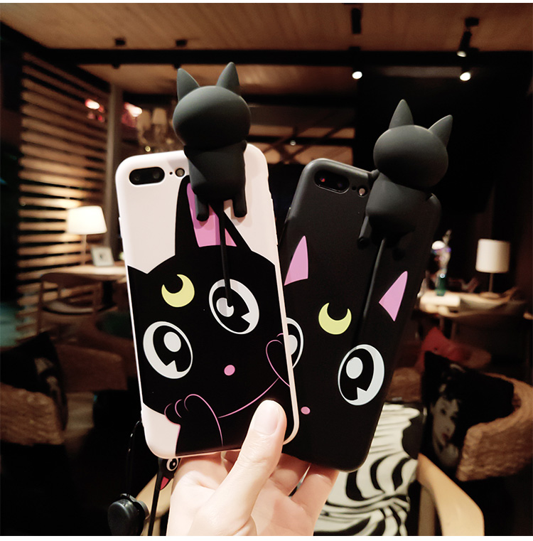Cute Luna Cat Sailor Moon Cartoon Squishy Phone Iphone 7 8 X 6 6S Plus Head Sound In Pinch Meow Stand 3D Silicone Cover