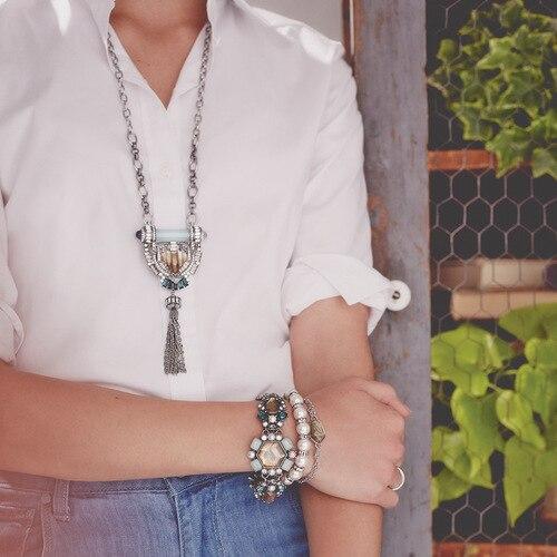 Venta caliente Mujeres de La Manera Del Arte Deco Beau Monde Bardot Larga Borla Collar de Plata Colgante de Collar de la Declaración Elegante