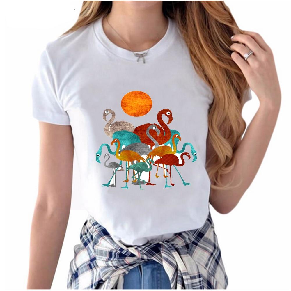 2018 spring summer fashion women 39 s short sleeve flamingos printed t shirt cute bird design. Black Bedroom Furniture Sets. Home Design Ideas